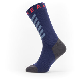 Sealskinz Waterproof Warm Weather Mid Length Socks with Hydrostop navy blue/grey/red